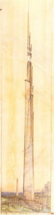 The Illiniois - proposed design for a mile-high skyscraper by Frank Lloyd Wright, 1956.jpg